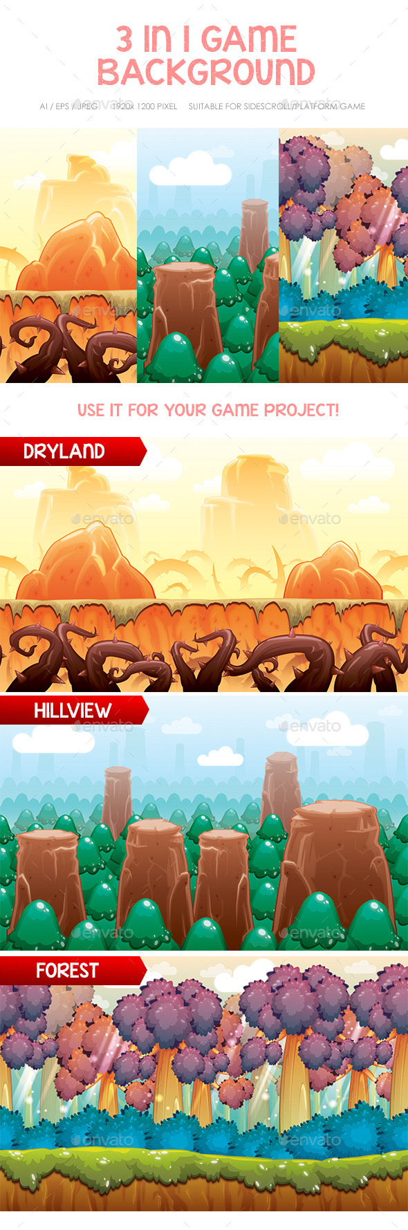 Hills Forest & Dryland Game Background