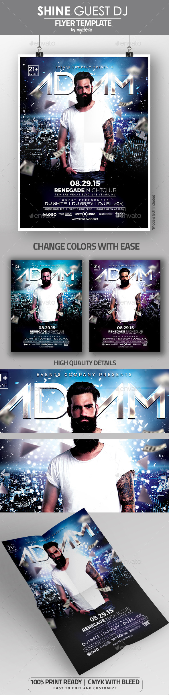 Shine Guest DJ Flyer Poster Template