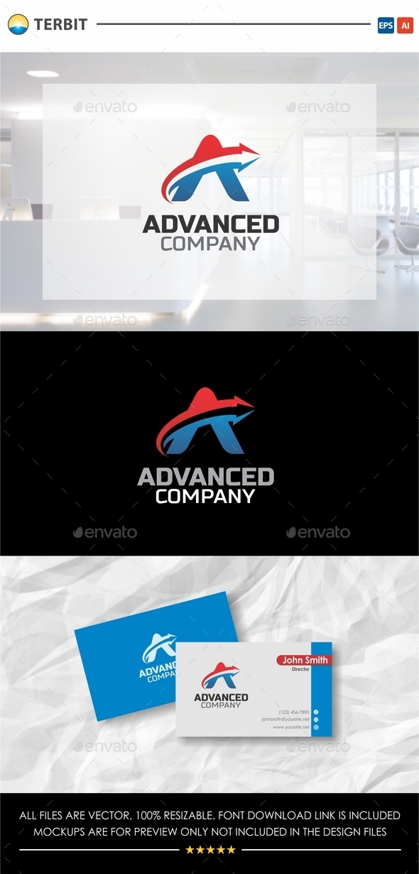 Letter A Arrow - Advanced Company - Company Logo Templates