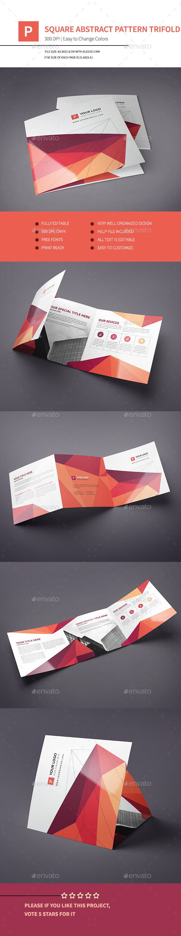 Square Abstract Pattern Trifold - Corporate Brochures