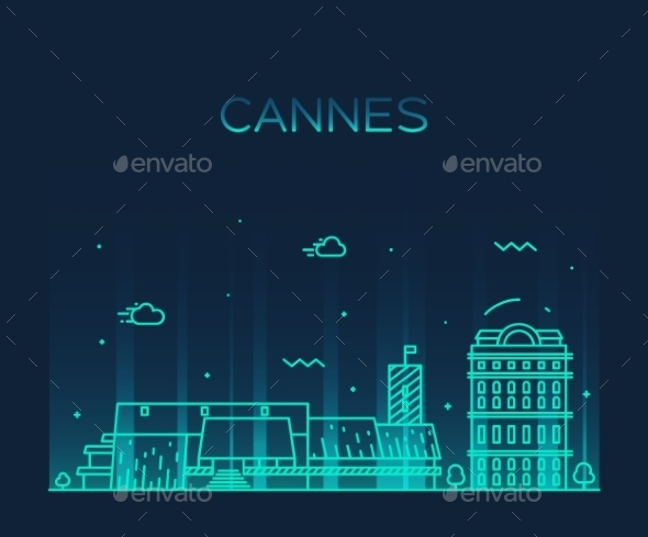 Cannes Skyline - Buildings Objects