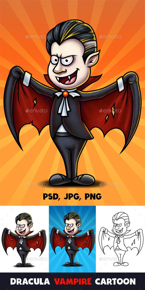 Dracula Vampire Cartoon Character Digital Painting - Characters Illustrations