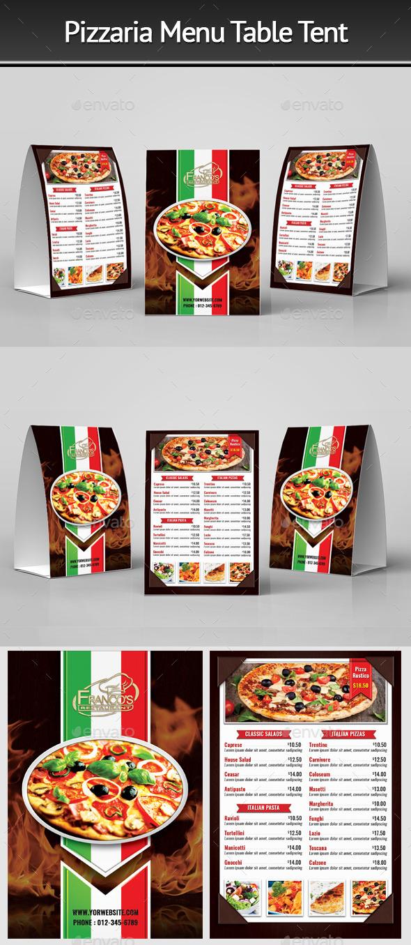 Pizzeria Menu Table Tent 2 - Food Menus Print Templates