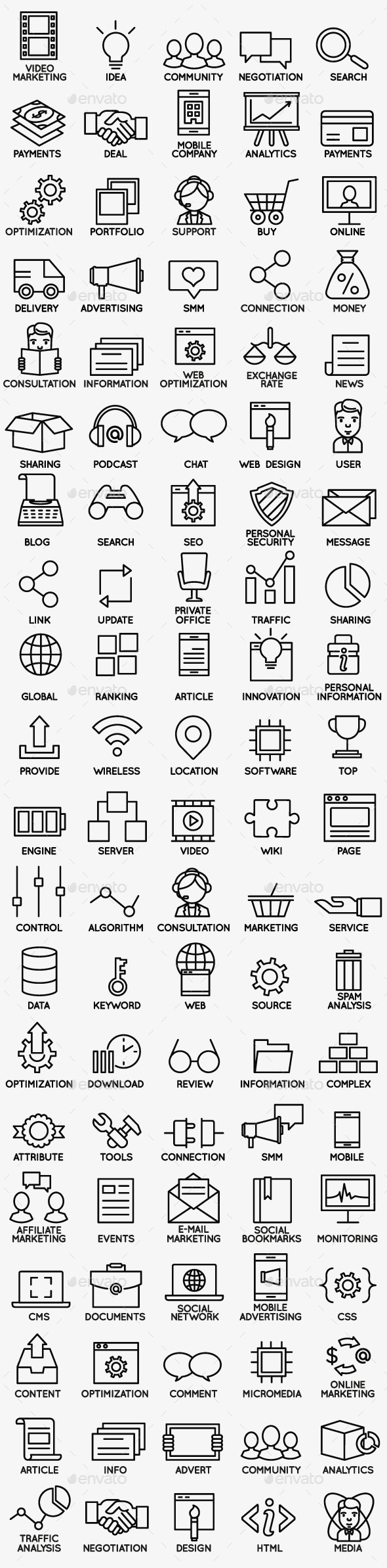 Set of Seo and Internet Service Icons - part 1 - Business Icons