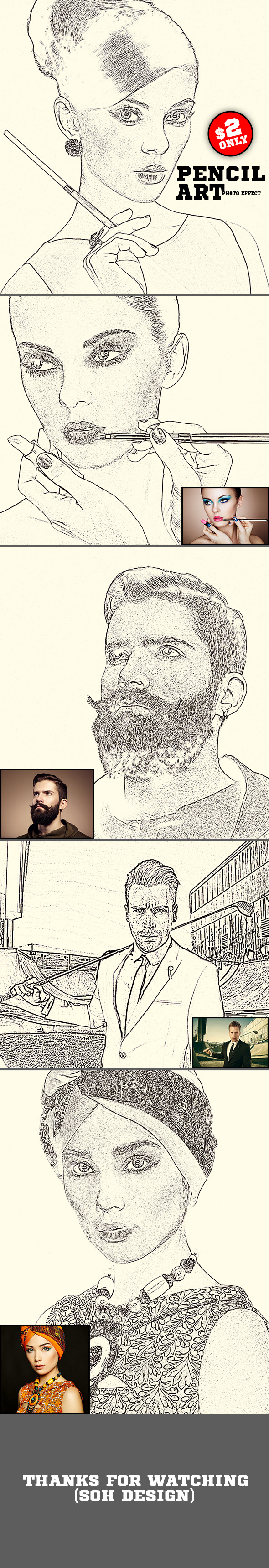 Pencil Art Photo Effect - Photo Effects Actions