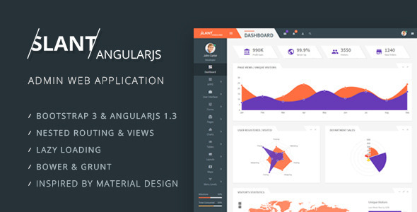Slant – AngularJS Admin Web App with Bootstrap