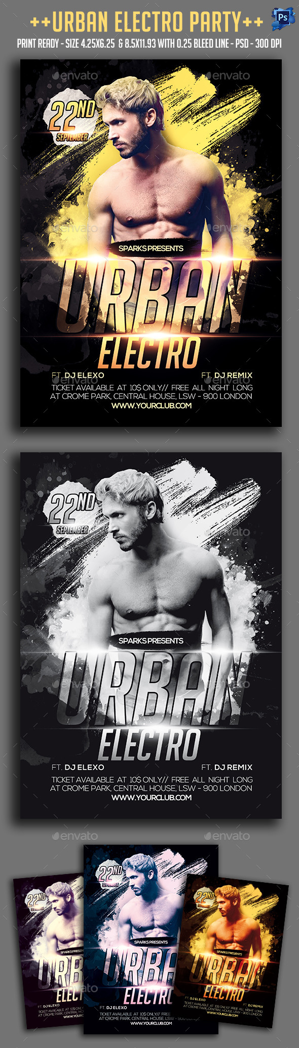 Urban Electro Party Flyer - Clubs & Parties Events