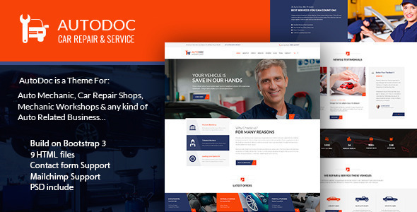 AutoDoc - HTML Car Repair Mechanic Shop - Retail Site Templates