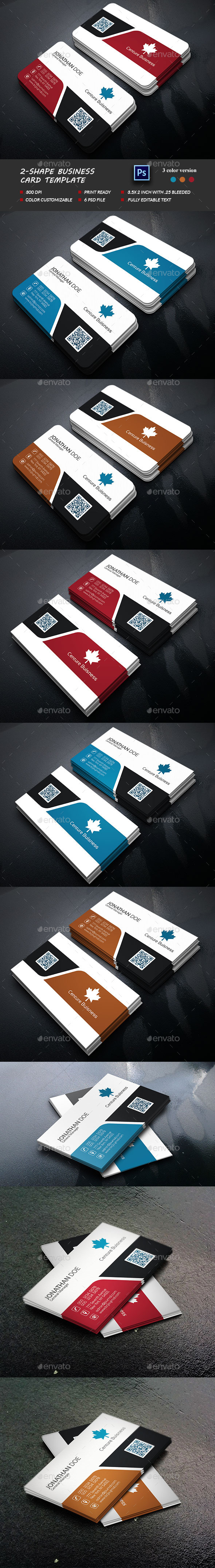 2-Shape Business Card Template - Business Cards Print Templates