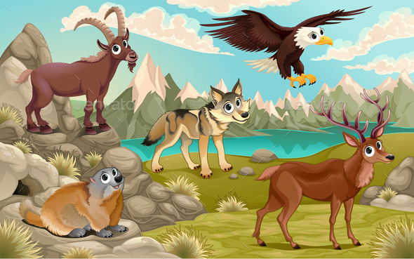 Animals in a Mountain Landscape - Animals Characters