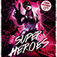 Superheroes Night Flyer Template - GraphicRiver Item for Sale