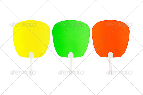 Colorful Oriental Plastic Fans - Stock Photo - Images