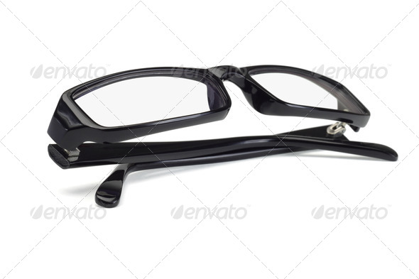 Black plastic frame spectacles - Stock Photo - Images