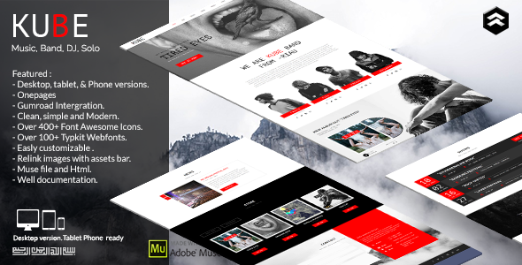 Kube – Musician, DJ, Band, Music Muse Template
