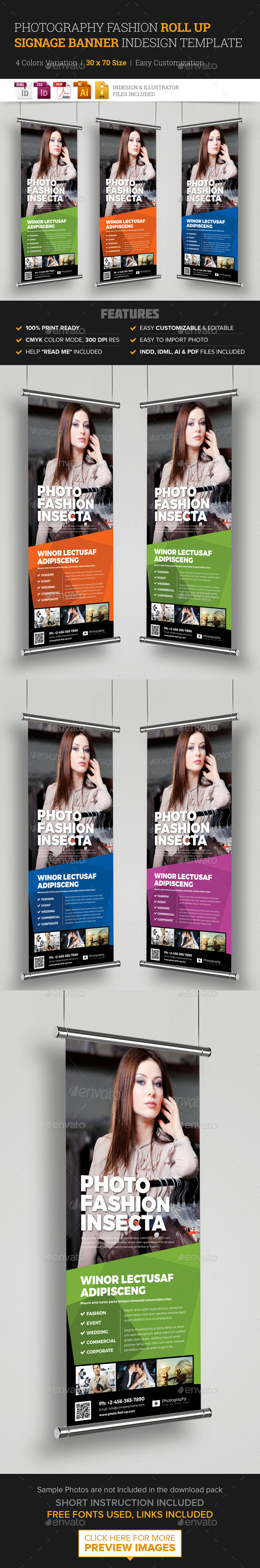 Photography Fashion Roll Up Banner Signage - Signage Print Templates