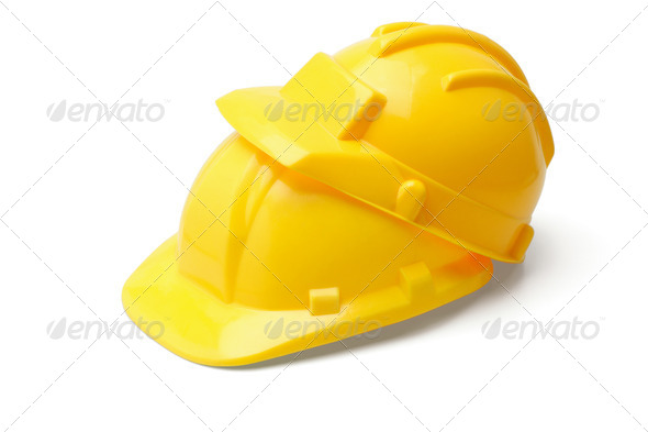 Yellow safety helmets - Stock Photo - Images