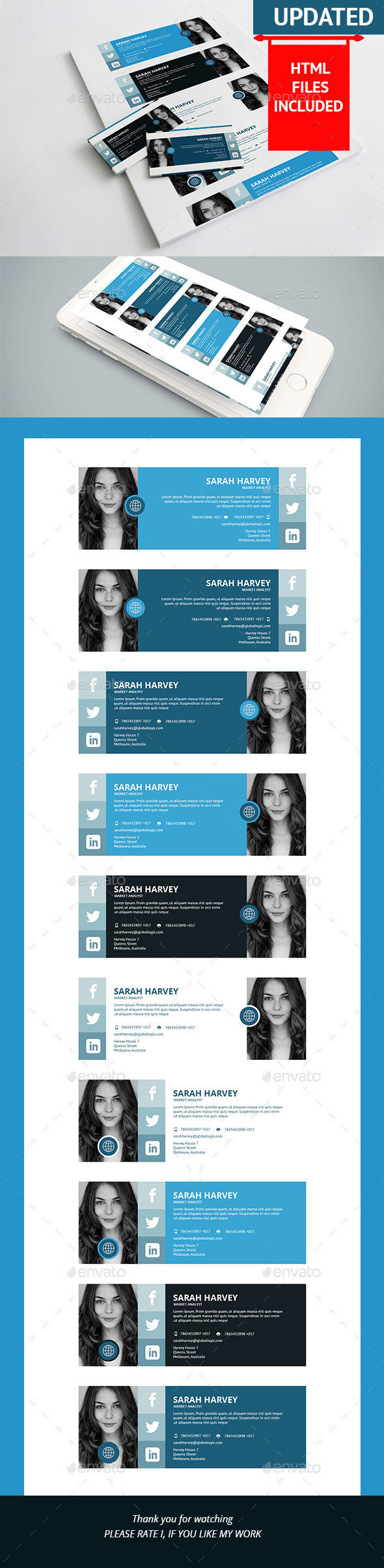10 Corporate E-Signature PSD+HTML Template - Miscellaneous Social Media