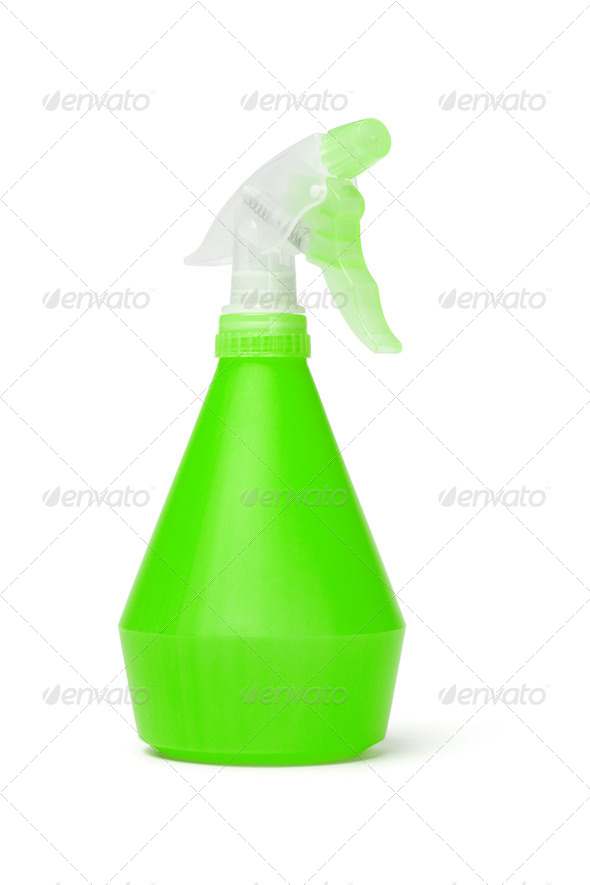 Green plastic spray bottle - Stock Photo - Images