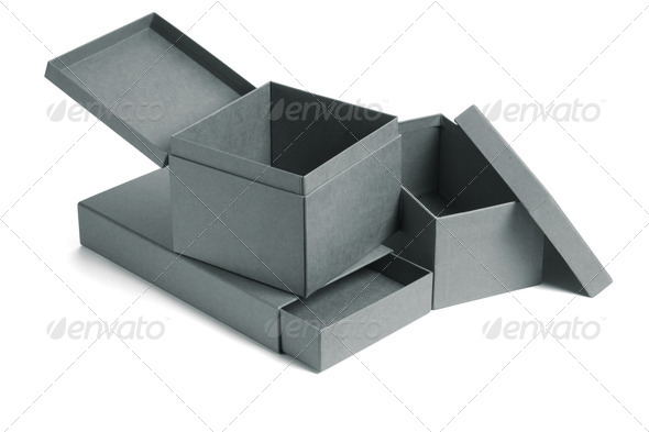 Collection of open gift boxes - Stock Photo - Images