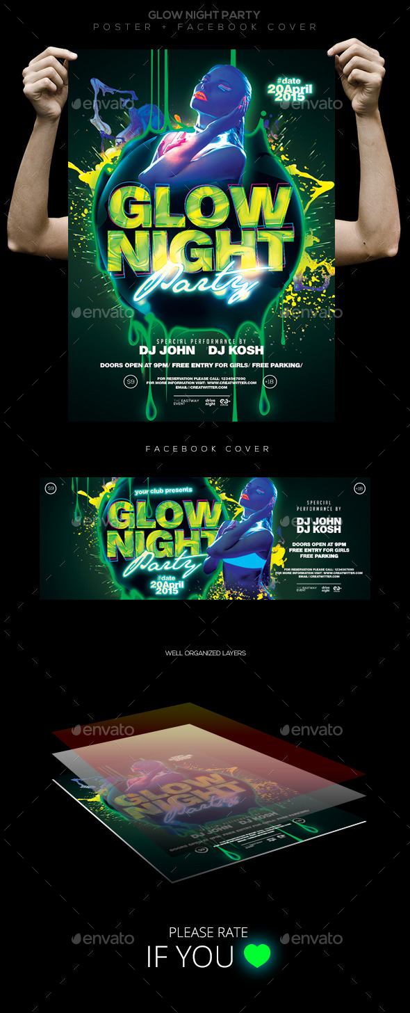 Glow Night Party Flyer/ Poster/ Facebook Cover - Clubs & Parties Events