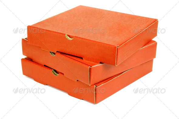 Stack of three pizza takeaway boxes - Stock Photo - Images