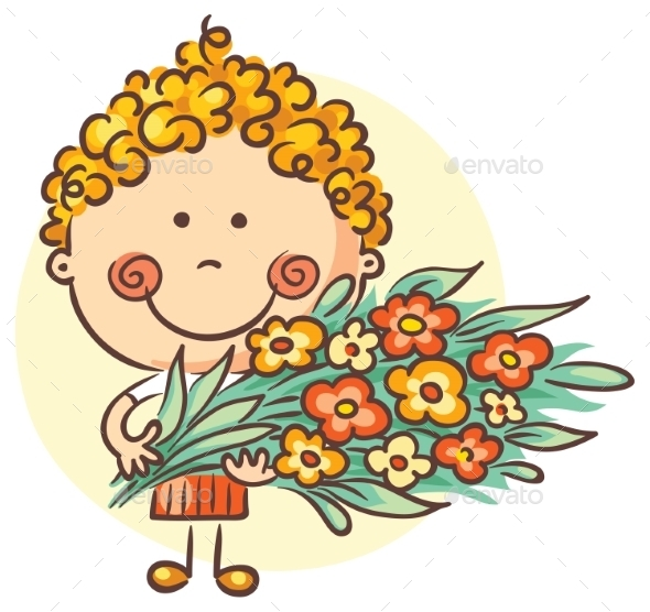 Child With a Big Bouquet Of Flowers