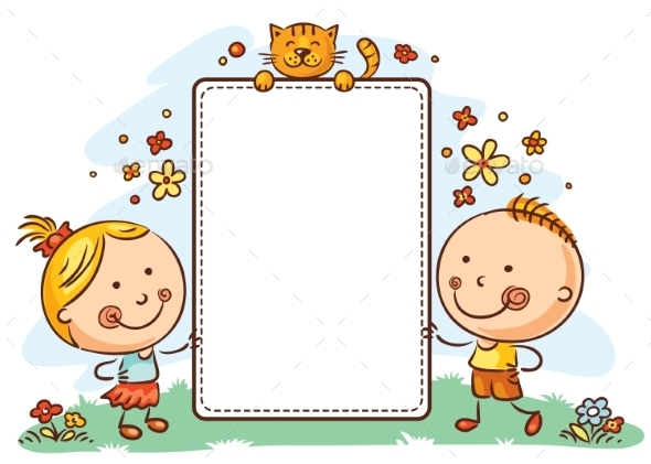 Cartoon Kids With a Frame With Copy Space by katya_dav | GraphicRiver
