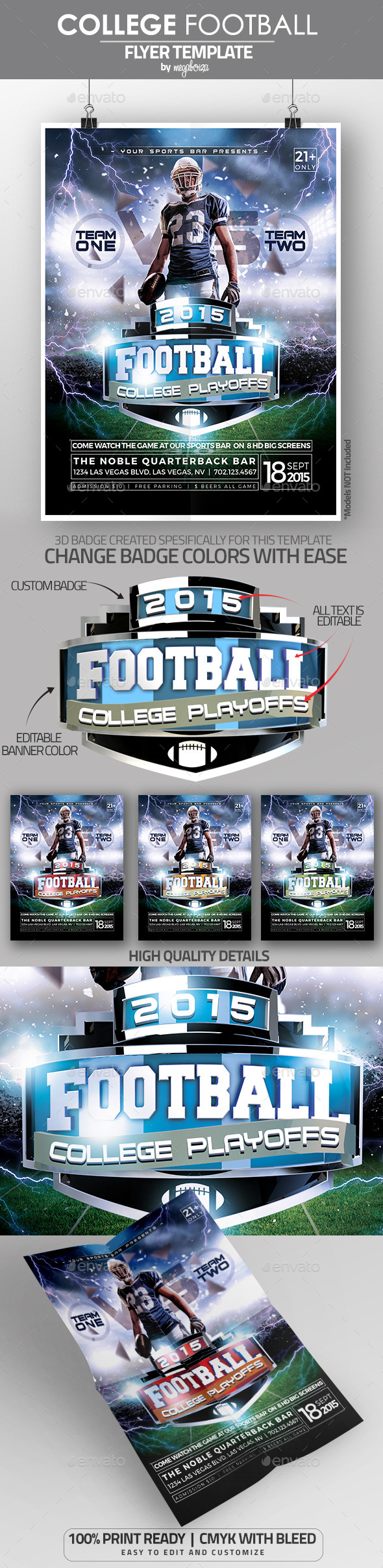 College Football Playoffs Flyer / Poster Template - Sports Events