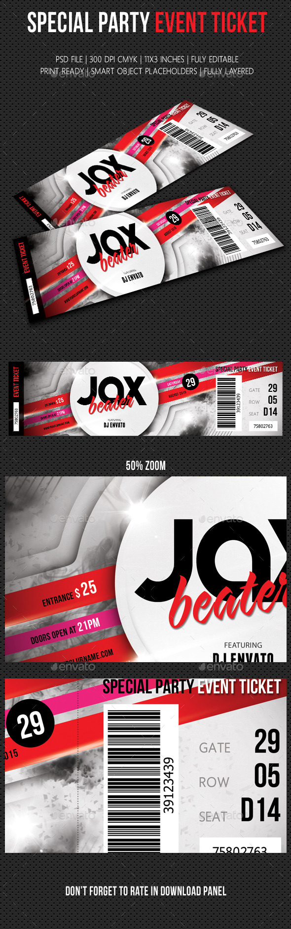 Special Party Event Ticket V04 - Cards & Invites Print Templates