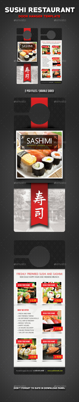 Sushi Restaurant Menu Door Hanger V1 - Miscellaneous Print Templates