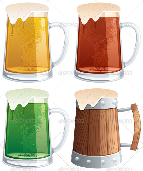 Beer Mugs - Objects Vectors