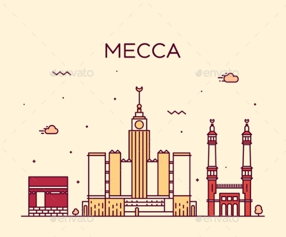 Mecca Skyline Trendy Vector Illustration Linear - Buildings Objects