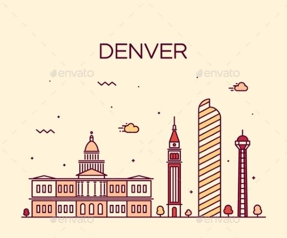 Denver Skyline Trendy Vector Illustration Linear - Buildings Objects