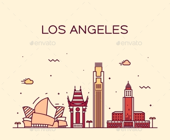 Los Angeles Skyline Vector Illustration Linear - Travel Conceptual