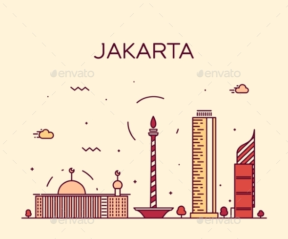 Jakarta Skyline Trendy Vector Illustration Linear - Landscapes Nature