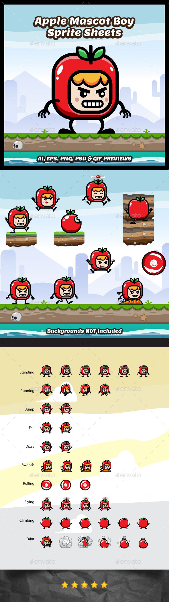 Red Apple Mascot Boy Game Character - Sprites Game Assets