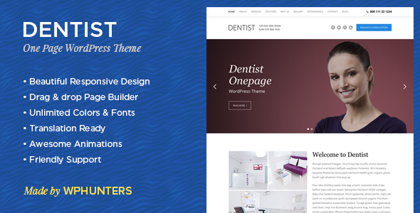 Dentist - A Responsive One Page WordPress Theme