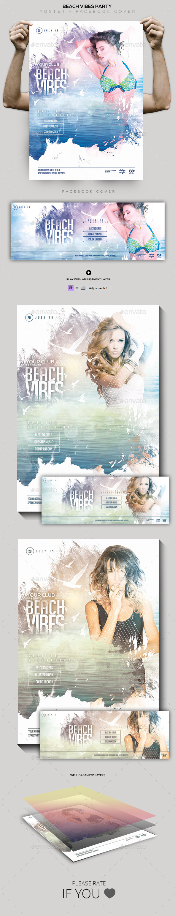 Beach Vibes Flyer / Poster / Facebook Cover - Clubs & Parties Events