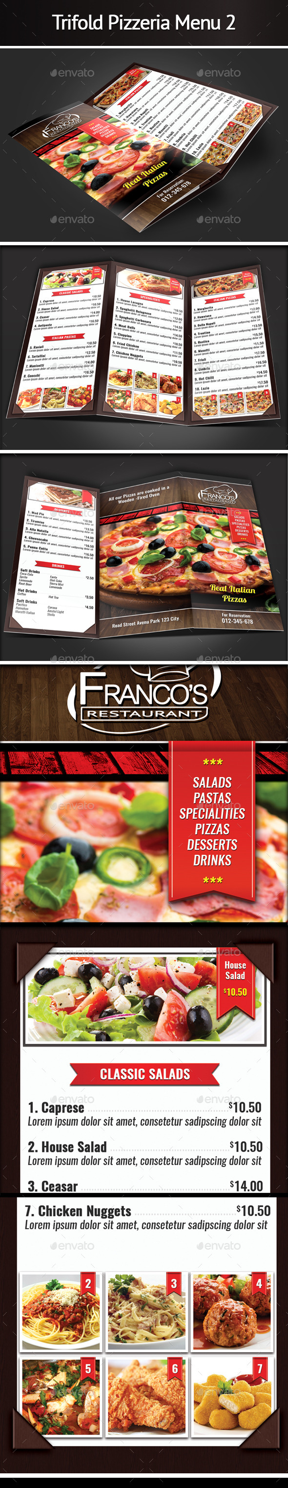 Trifold Pizzeria Menu 2 - Food Menus Print Templates