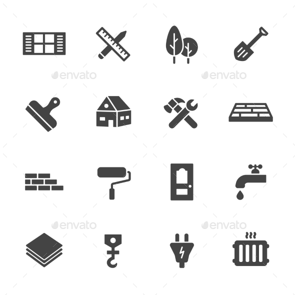 Construction Icons - Buildings Objects