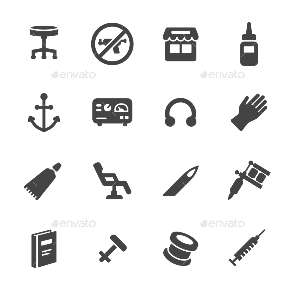 Tattoo And Piercing Icons - Man-made objects Objects