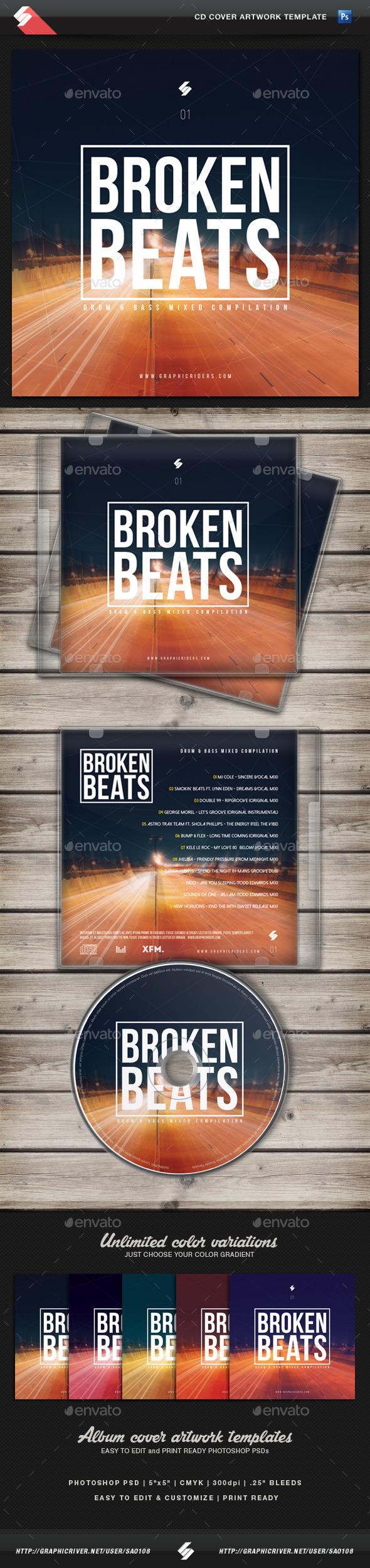 Broken Beats - CD Cover Artwork Template - CD & DVD Artwork Print Templates