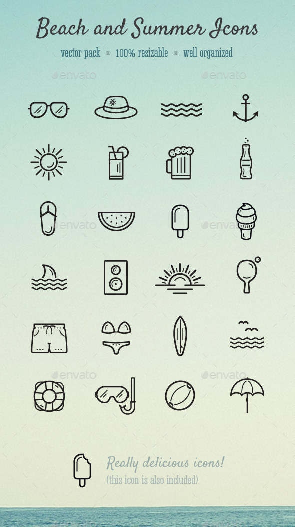 Beach and Summer Icons - Seasonal Icons