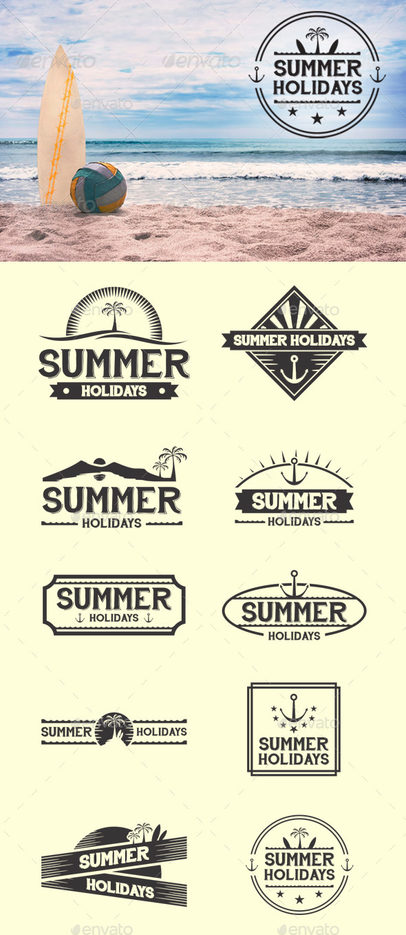 Retro Summer Badges - Badges & Stickers Web Elements