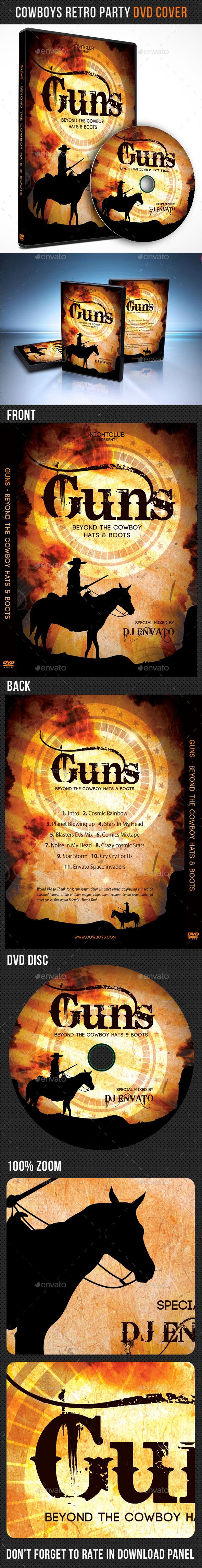 Cowboys Retro Party DVD Cover Template - CD & DVD Artwork Print Templates