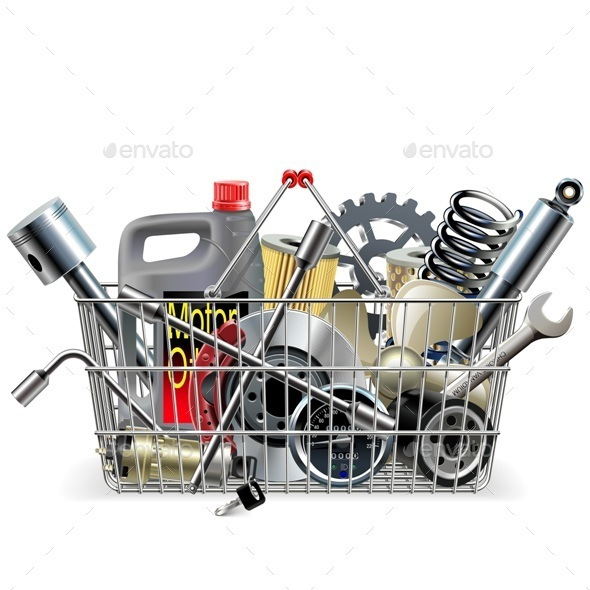 Vector Basket with Car Spares - Retail Commercial / Shopping