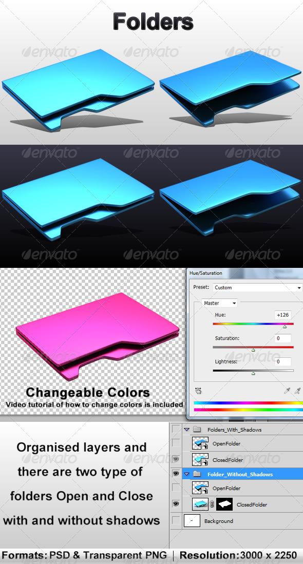 Folders - Objects 3D Renders