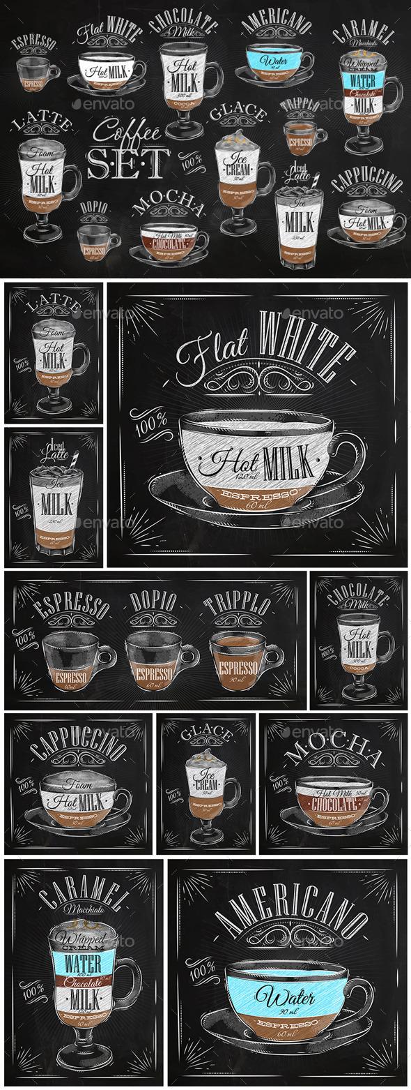 Set Coffee Chalk - Food Objects