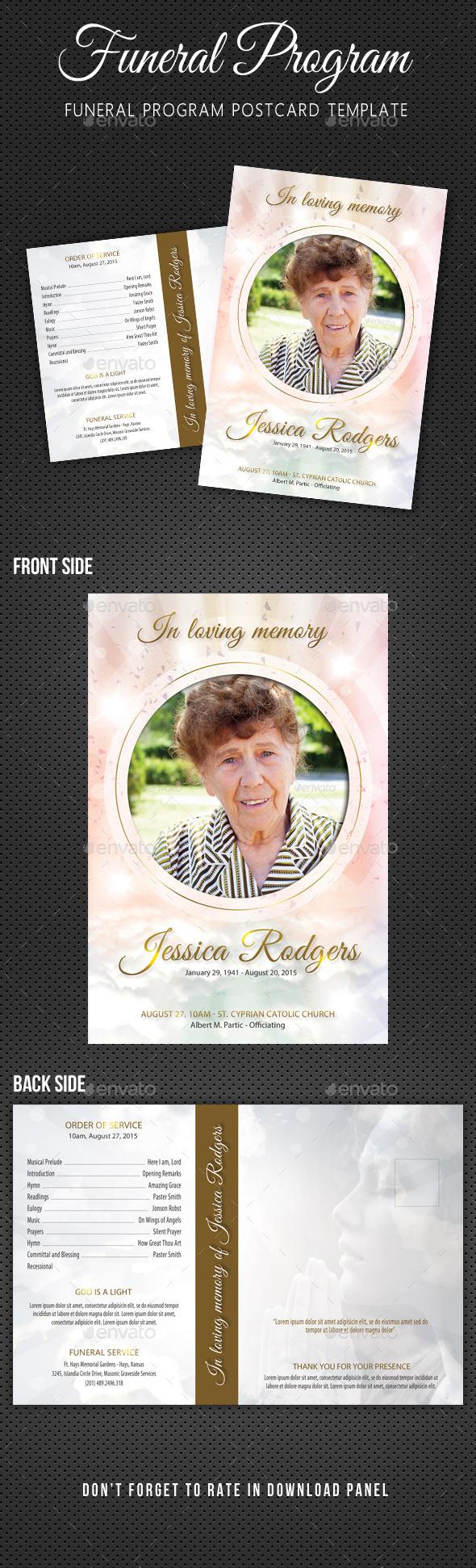 Funeral Program Postcard Template V03 - Cards & Invites Print Templates