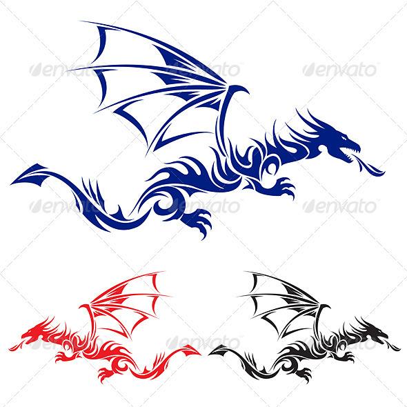 Asian Tattoo Dragon - Tattoos Vectors